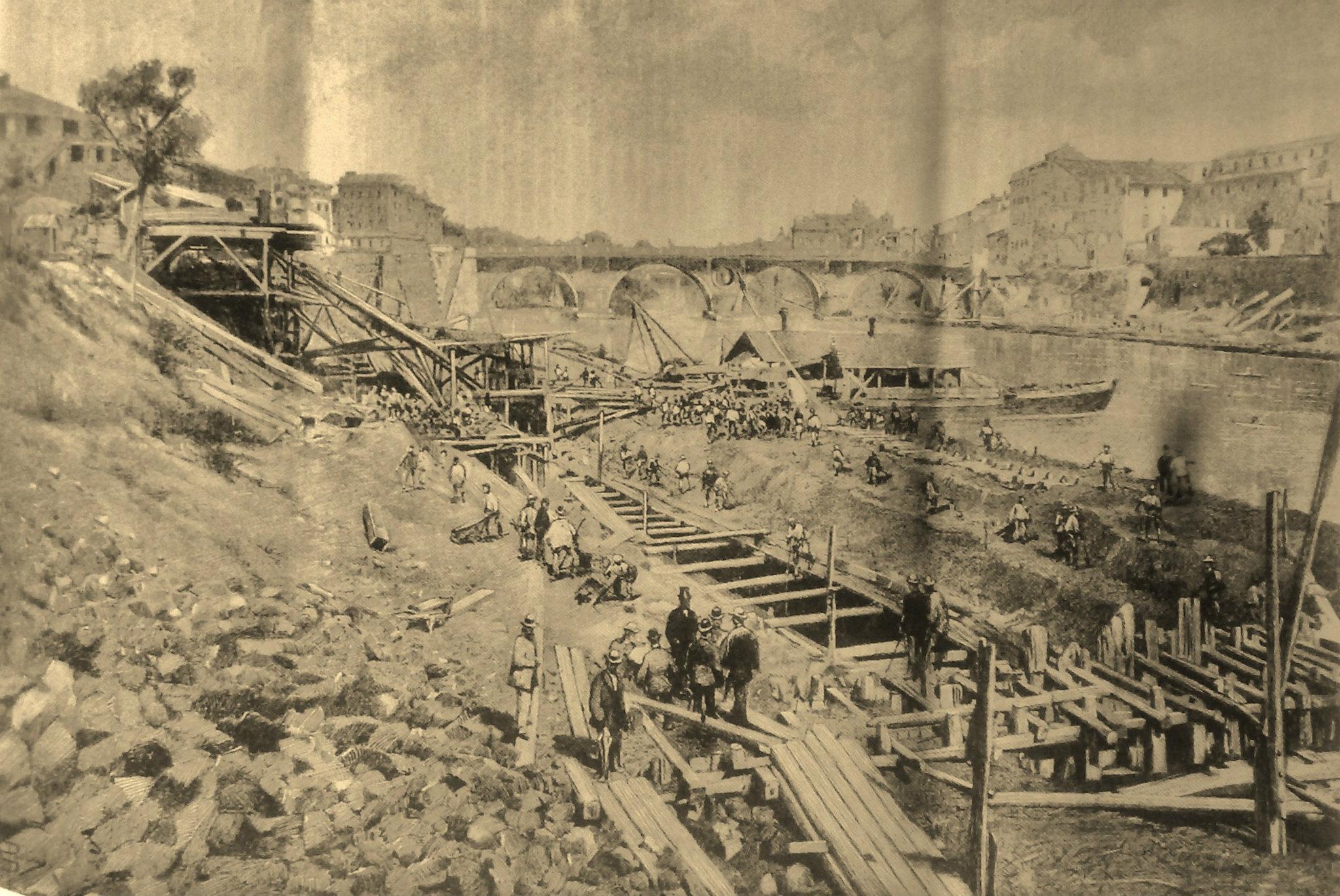1883 inizio lavori di sterro e muragliamento a ponte sisto